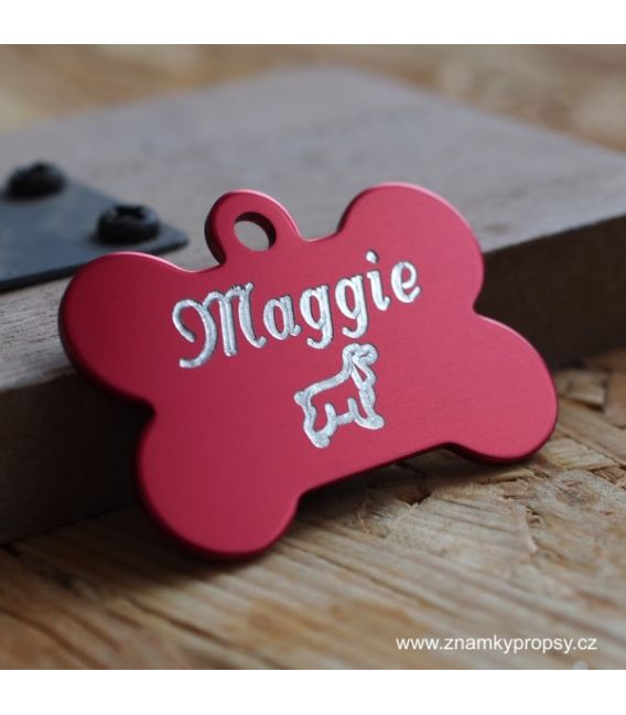 Red ID tag for dog named Maggie - engraving pet tags