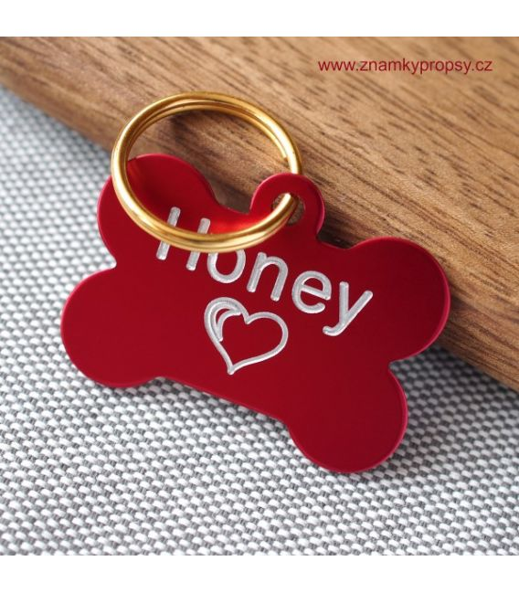 Dog ID with engraving for Honey in a shape of red bone