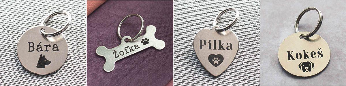 Nerezové psí známky ve tvaru kolečka a srdce jsou vhodné pro středně velké a velké psy